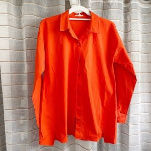 Eileen Fisher Coral Cotton Buttoned Down Blouse